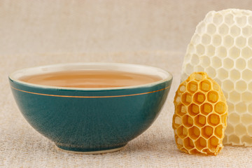 Honey in bowl with honeycomb