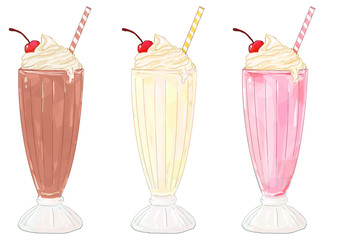 Milkshakes - chocolate, vanilla/banana and strawberry