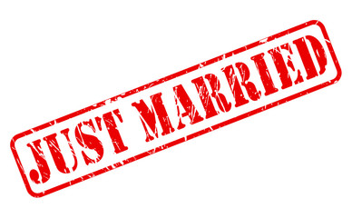 JUST MARRIED red stamp text
