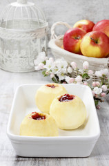 Apple stuffed with jam before baking