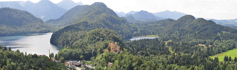 The castle of Hohenschwangau and Alps in Bavaria, Germany