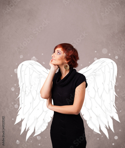 canvas print picture Cute girl with angel illustrated wings