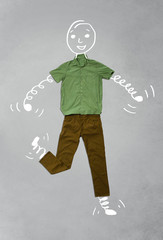 Funny cartoon character in casual clothes