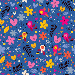 flowers, hearts, birds love nature seamless pattern