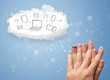 Happy smiley fingers looking at cloud computing with technology