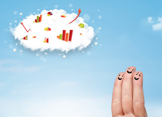 Happy finger smiley with graph cloud icons in the sky