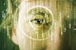 Modern cyber soldier with target matrix eye