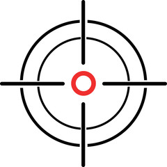Illustration of a crosshair reticle on a white background