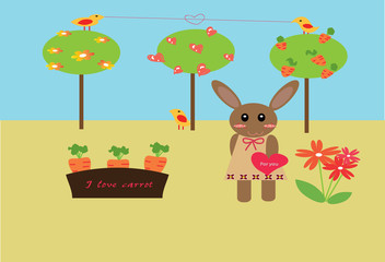 rabbit girl in garden