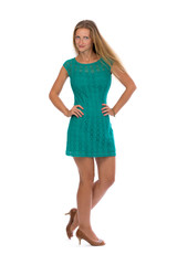 Charming girl in a dress full length