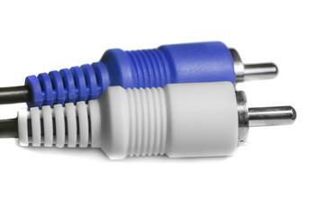 Blue white audio video jacks