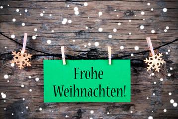 Label with Frohe Weihnachten, Snowy Background