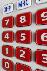 Red keypad of calculator