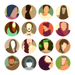 Set of circle icons with avatar faces, flat style
