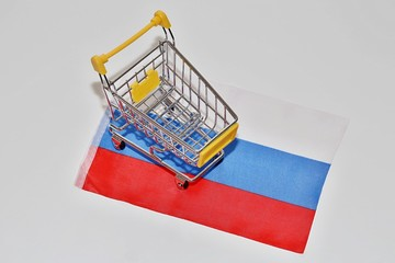 Shopping cart on Russia flag