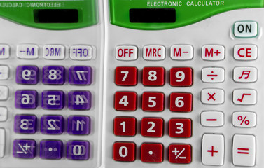 Calculator keypad with two colors