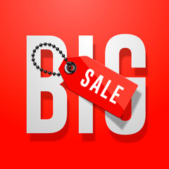 Big sale red poster with price tag