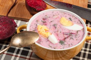 Beet soup cold.
