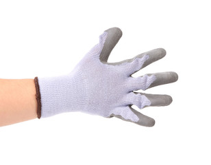 Hand shows five in rubber glove.