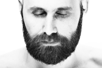 bearded man on a white background portrait of a high key