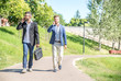 Business men walking outdoors