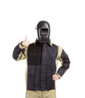 Welder in workwear suit.