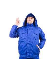 Man in winter workwear.