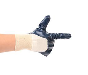 Hand in glove as a gun.