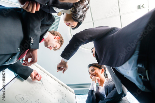 canvas print picture Asian Businesspeople looking at flipchart