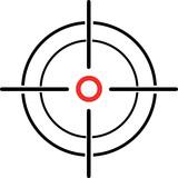 ilustrace nitkového záměrného kříže na bílém pozadí
