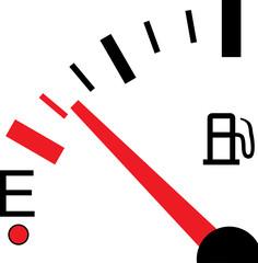 Illustration of a Fuel Gauge on White Background