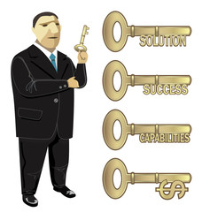 Businessman Key to Business Solution Success
