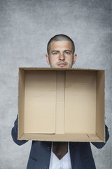 businessman with an empty box