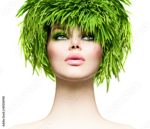 canvas print picture Beauty woman with fresh green grass hair. Nature model girl