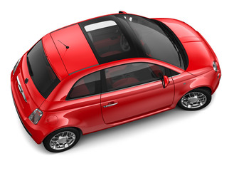 Red car - top angle