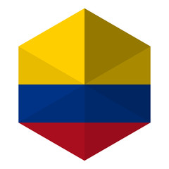 Colombia Flag Hexagon Flat Icon Button