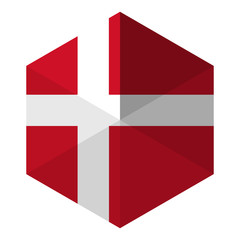 Denmark Flag Hexagon Flat Icon Button
