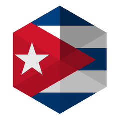 Cuba Flag Hexagon Flat Icon Button