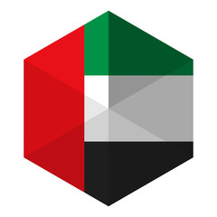 Emirates Flag Hexagon Flat Icon Button