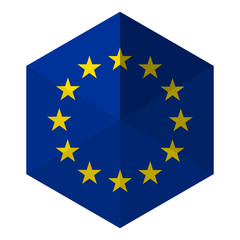 Europe Flag Hexagon Flat Icon Button