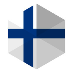 Finland Flag Hexagon Flat Icon Button