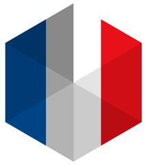 France Flag Hexagon Flat Icon Button