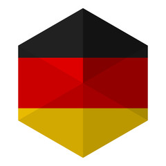 Germany Flag Hexagon Flat Icon Button