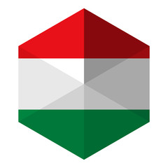 Hungary Flag Hexagon Flat Icon Button