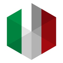 Italy Flag Hexagon Flat Icon Button