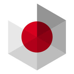 Japan Flag Hexagon Flat Icon Button