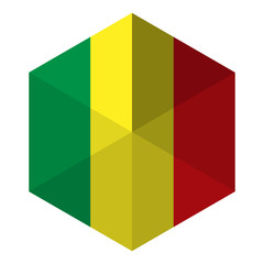 Mali Flag Hexagon Flat Icon Button