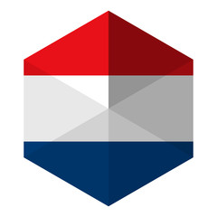 Netherlands Flag Hexagon Flat Icon Button