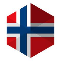 Norway Flag Hexagon Flat Icon Button