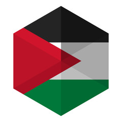 Palestine Flag Hexagon Flat Icon Button